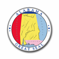 "Alabama State Seal 10"" Vinyl Transfer Decal"