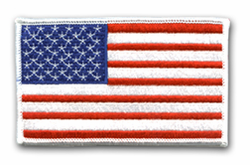 "American Flag 3 x 2"" with White Border Velcro Shoulder Patch"