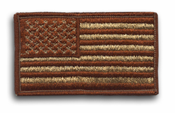 "American Flag Desert Tan with Brown Border 3 3/8"" x 2"" Shoulder Patch"