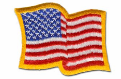 "American Waving Flag 3 1/2"" x 2 1/4"" Shoulder Patch"