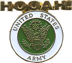 "Army 1 1/4"" Hooah Pin"
