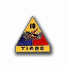 Army 10th Armored Division Tiger Military Pin