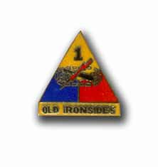 Army 1st Armored Division Old Ironsides Military Pin