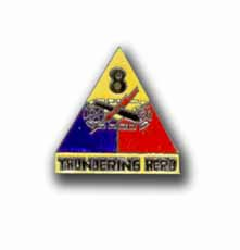 Army 8th Armored Division Thundering Heard Military Pin