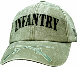 Army Infantry OD Green Low-Profile Embroidered Ball Cap Hat