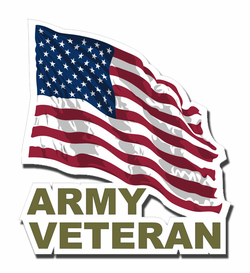 Army Veteran with American Flag Die-Cut Vinyl Decal Sticker