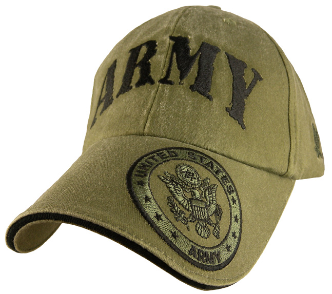 Army With Crest Embroidered Low Profile Od Green Ball Cap Hat