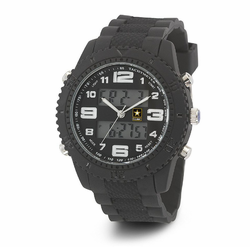 MEN'S U.S. ARMY C27 MULTIFUNCTION WATCH, BLACK AND WHITE DIAL, BLACK RUBBER STRAP