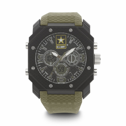 MEN'S U.S. ARMY C28 MULTIFUNCTION WATCH, BLACK AND WHITE DIAL, GREEN RUBBER STRAP
