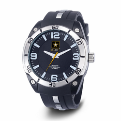 MEN'S U.S. ARMY C36 WATCH, BLACK AND WHITE DIAL, BLACK RUBBER STRAP