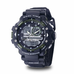 MEN'S U.S. ARMY C41 MULTIFUNCTION WATCH, BLACK AND GREEN DIAL, BLACK VELCRO STRAP
