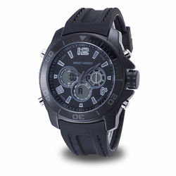 MEN'S WRIST ARMOR C29 MULTIFUNCTION WATCH, STEALTH DIAL, BLACK RUBBER STRAP