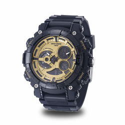 MEN'S WRIST ARMOR C40 MULTIFUNCTION WATCH, GOLD AND BLACK DIAL, BLACK RUBBER STRAP