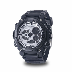 MEN'S WRIST ARMOR C40 MULTIFUNCTION WATCH, SILVER AND BLACK DIAL, BLACK RUBBER STRAP