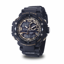 MEN'S WRIST ARMOR C41 MULTIFUNCTION WATCH, BLACK AND GOLD DIAL, BLACK VELCRO STRAP