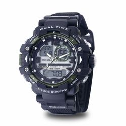 MEN'S WRIST ARMOR C41 MULTIFUNCTION WATCH, BLACK AND GREEN DIAL, BLACK VELCRO STRAP