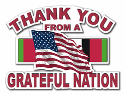 """Military Thanks from a Grateful Nation Afghanistan 8"""" Die-Cut Vinyl Decal Sticker"""