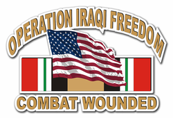 Operation Iraqi Freedom Combat Wounded with American Flag and Ribbon Die-Cut Vinyl Decal Sticker