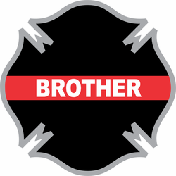 Thin Red Line Brother Firefighter Cross Decal