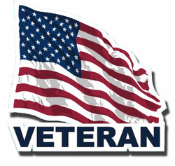 Veteran with American Flag Die-Cut Vinyl Decal Sticker