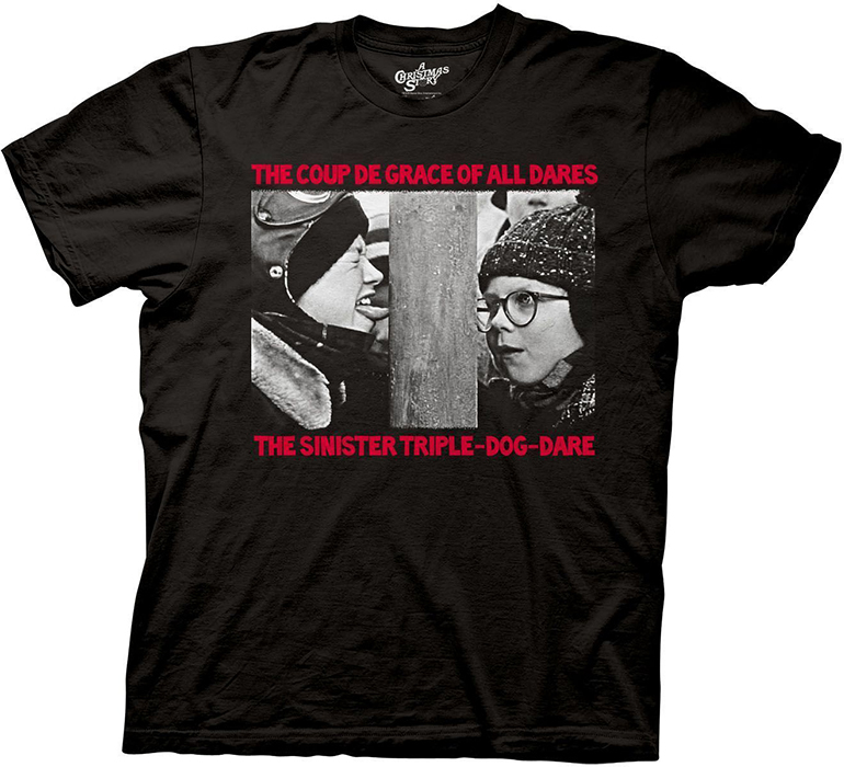 a christmas story the sinister triple dog dare adult mens t shirt
