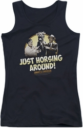 Abbott and Costello juniors tank top Horsing Around black