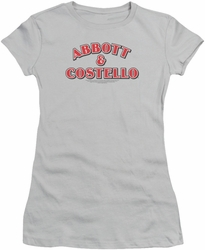 Abbott & Costello juniors sheer t-shirt Logo silver