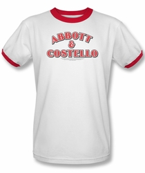 Abbott & Costello ringer t-shirt Logo adult white red