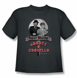 Abbott & Costello youth teen t-shirt Super Sleuths charcoal