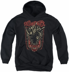 Aerosmith youth teen hoodie Let Rock Rule black