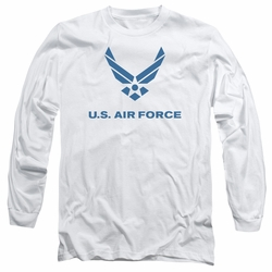 Air Force adult long-sleeved shirt Distressed Logo white