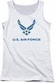 Air Force juniors tank top Distressed Logo white