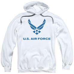 Air Force pull-over hoodie Distressed Logo adult white