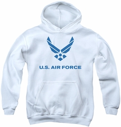 Air Force youth teen hoodie Distressed Logo white