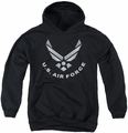 Air Force youth teen hoodie Logo black