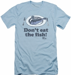 Airplane slim-fit t-shirt Don't Eat The Fish mens light blue