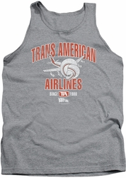 Airplane tank top Trans American mens heather