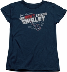 Airplane womens t-shirt Dont Call Me Shirley navy
