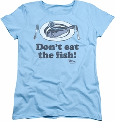Airplane womens t-shirt Dont Eat The Fish light blue