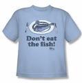 Airplane youth teen t-shirt Don't Eat The Fish light blue