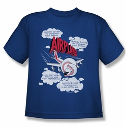Airplane youth teen t-shirt Picked The Wrong Day royal