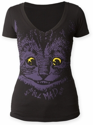 Alice's Adventures in Wonderland Mad Cat juniors deep vee tee black womens pre-order