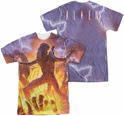 Alien mens full sublimation t-shirt Lightning And Fire