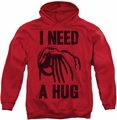 Alien pull-over hoodie Need A Hug adult red