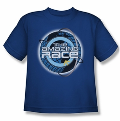Amazing Race youth teen t-shirt Around The Globe royal