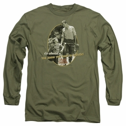 Andy Griffith adult long-sleeved shirt Gone Fishing military green