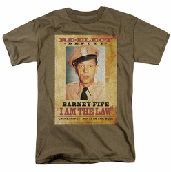 Andy Griffith t-shirt I Am The Law mens safari green