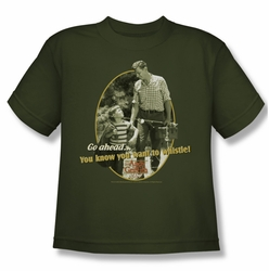 Andy Griffith youth teen t-shirt Gone Fishing military green