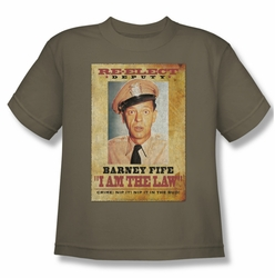 Andy Griffith youth teen t-shirt I Am The Law safari green