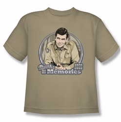 Andy Griffith youth teen t-shirt Thanks For The Memories sand